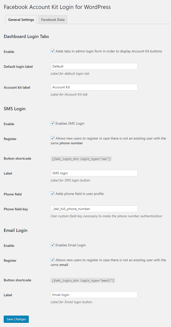 Facebook Account Kit Login for WordPress - Settings - General