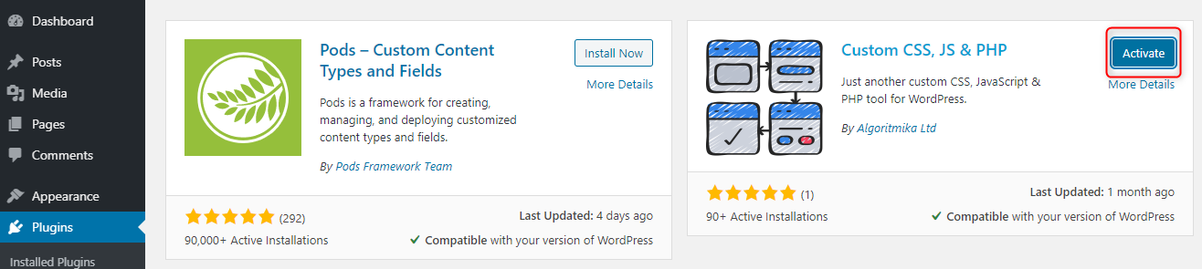 How to Add Custom PHP Code in WordPress - Activate Custom PHP plugin