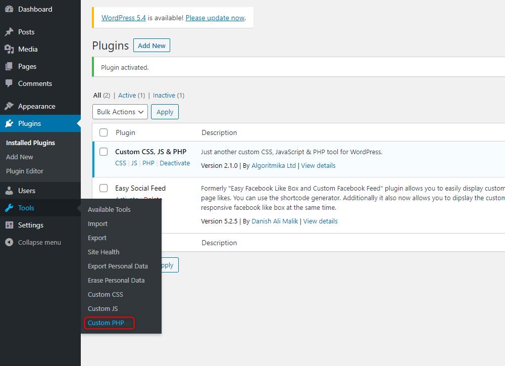 How to Add Custom PHP Code in WordPress - Custom PHP link