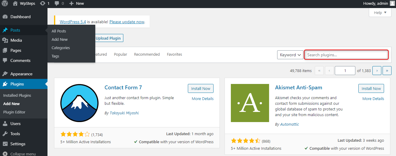 How to Add Custom PHP Code in WordPress - Search for the Custom PHP plugin