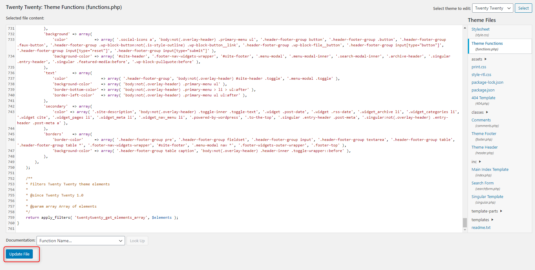 How to Add Custom PHP Code in WordPress - Theme editor - Update File