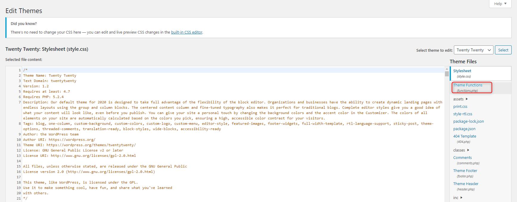 How to Add Custom PHP Code in WordPress - Theme editor