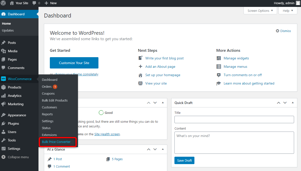 How to Bulk Edit WooCommerce Products - Bulk Price Converter for WooCommerce - Menu