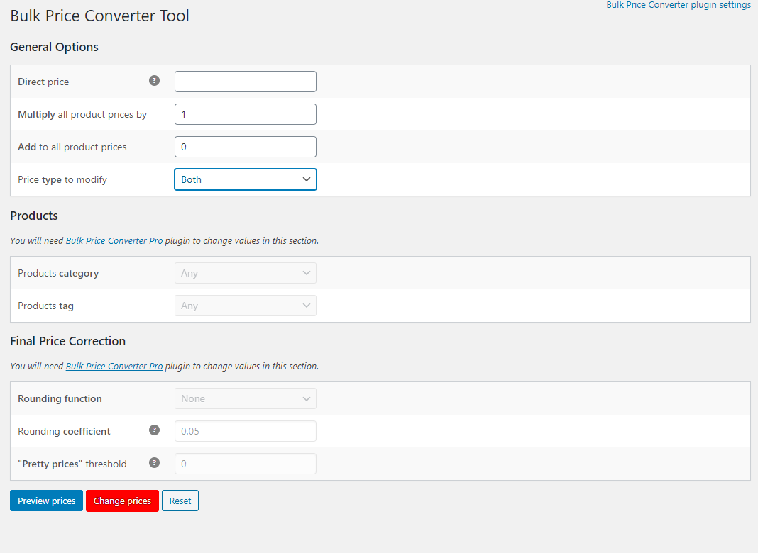 How to Bulk Edit WooCommerce Products - Bulk Price Converter for WooCommerce - Options