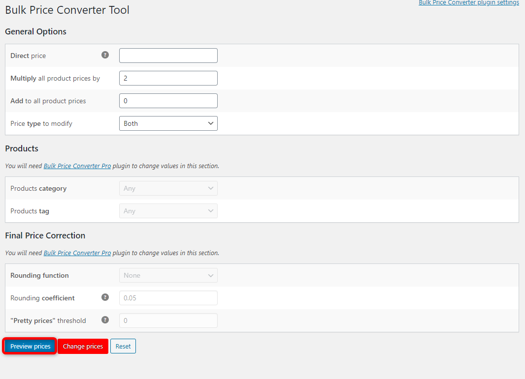 How to Bulk Edit WooCommerce Products - Bulk Price Converter for WooCommerce - Preview prices