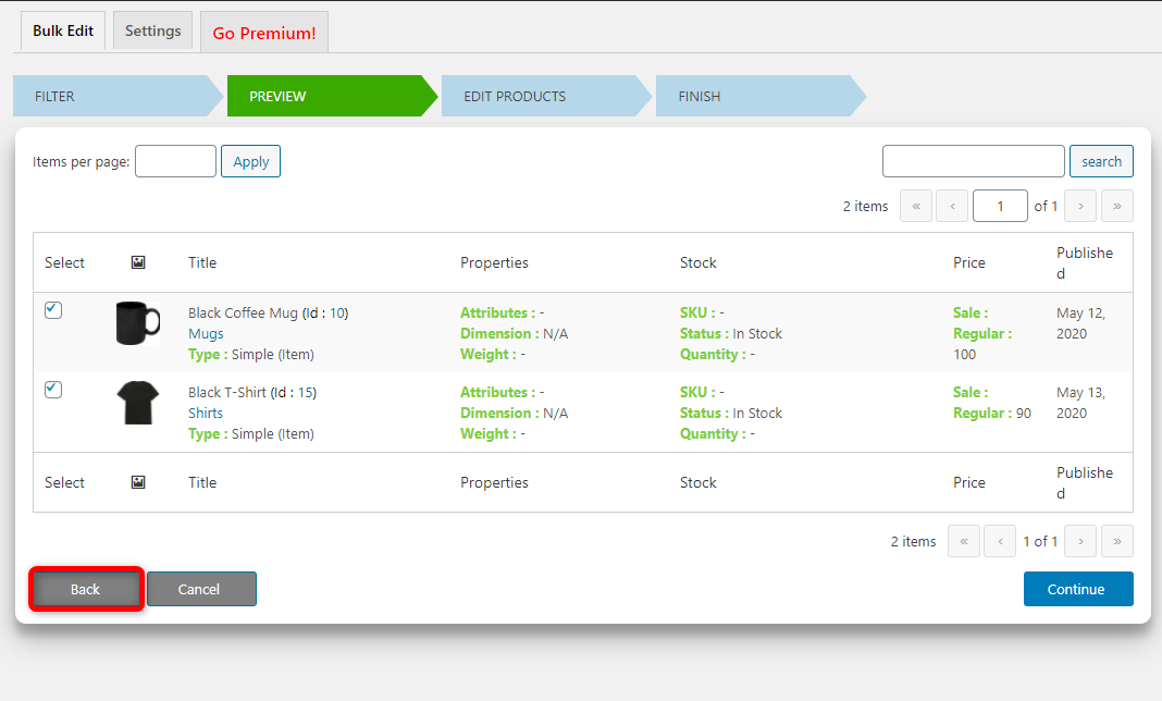 How to Bulk Edit WooCommerce Products - Elex WooCommerce Advanced Bulk Edit - Back button