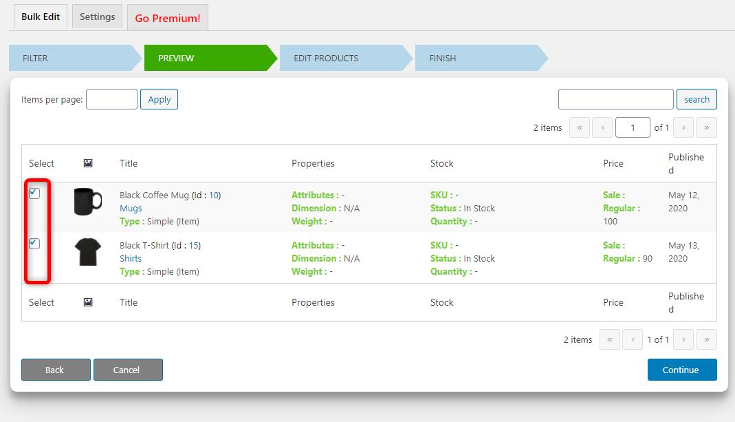 How to Bulk Edit WooCommerce Products - Elex WooCommerce Advanced Bulk Edit - Checkboxes