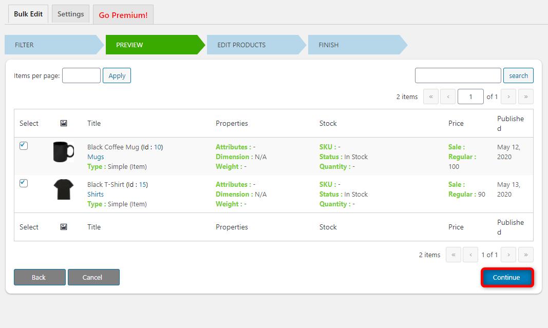 How to Bulk Edit WooCommerce Products - Elex WooCommerce Advanced Bulk Edit - Continue button