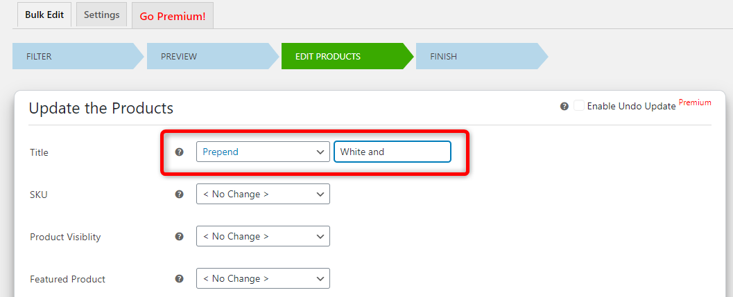 How to Bulk Edit WooCommerce Products - Elex WooCommerce Advanced Bulk Edit - Edit products - Prepend title