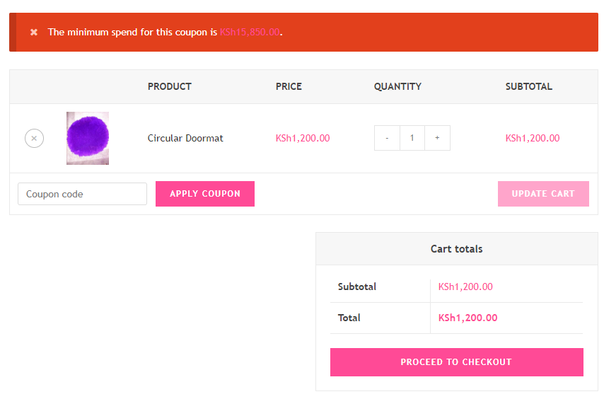 How to Create WooCommerce Bundle Products - Testing the coupon - Minimum spend