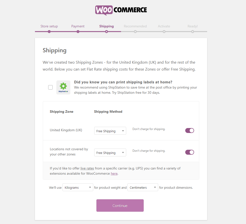 How to Get Started with WooCommerce - Install WooCommerce - Step 3 - Shipping