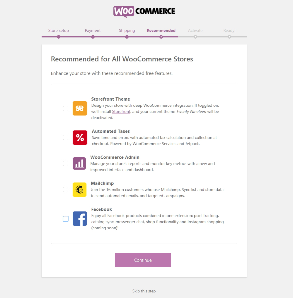 How to Get Started with WooCommerce - Install WooCommerce - Step 4 - Recommended