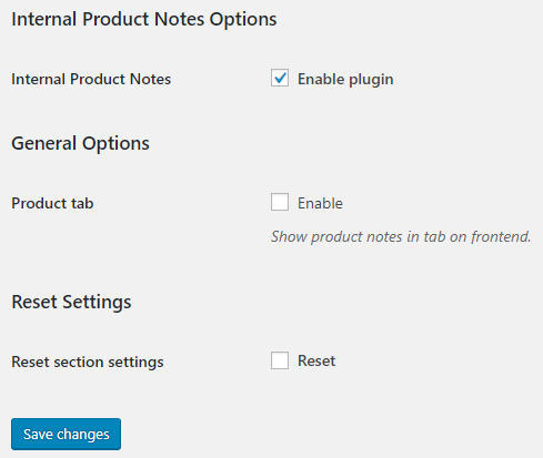 Internal Product Notes for WooCommerce - General Options