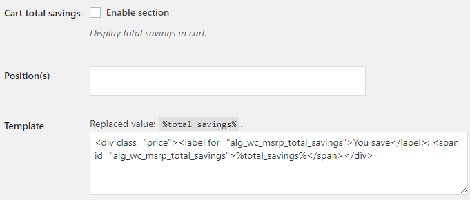 MSRP for WooCommerce - Cart Total Savings Display Options