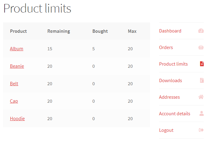 Maximum Products per User for WooCommerce - My Account