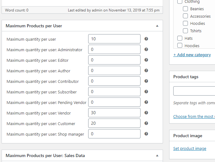 Maximum Products per User for WooCommerce - Per Product Options - User Roles