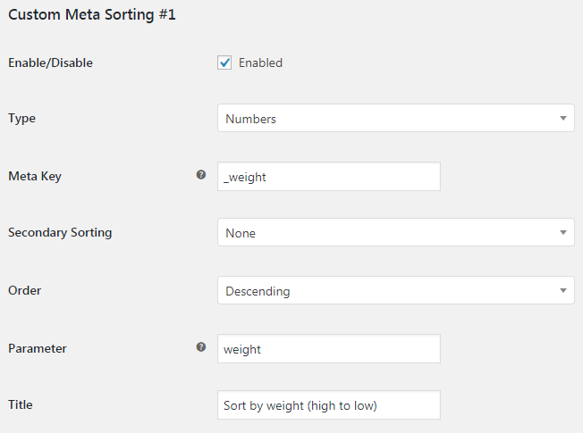 More Sorting Options for WooCommerce - Admin Settings - Custom Meta Sorting