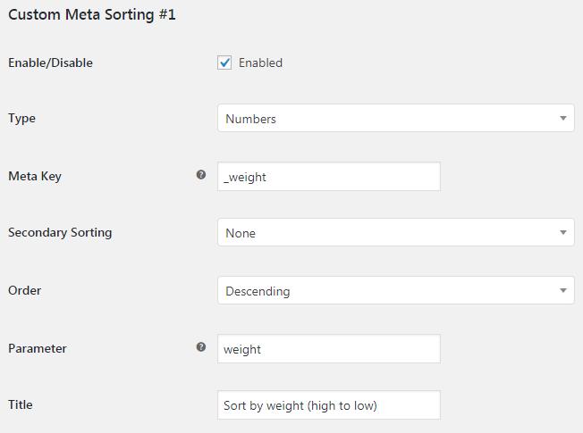 More Sorting Options for WooCommerce - Admin Settings - Custom Meta Sorting