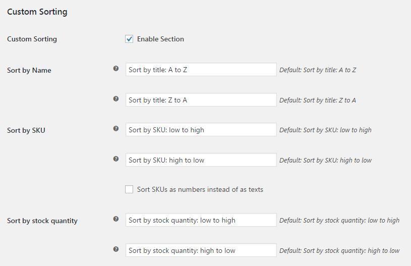 More Sorting Options for WooCommerce - Admin Settings - Custom Sorting