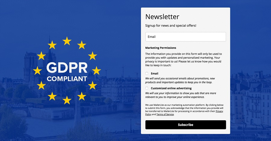 Opting in for a newsletter - GDPR compliance
