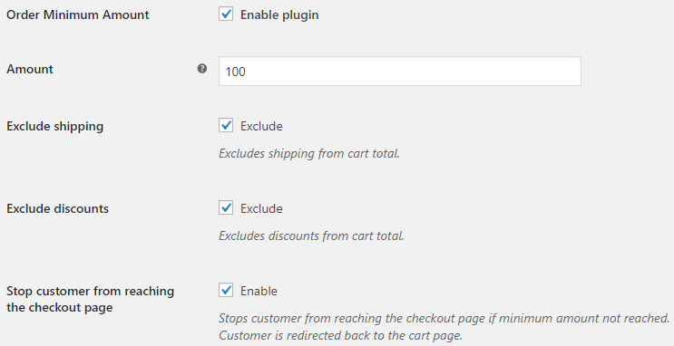 Order Minimum Amount for WooCommerce - General Options