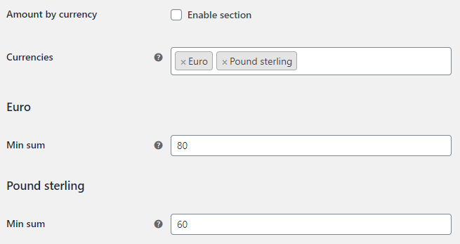 Order Minimum Maximum Amount for WooCommerce - Currency Options