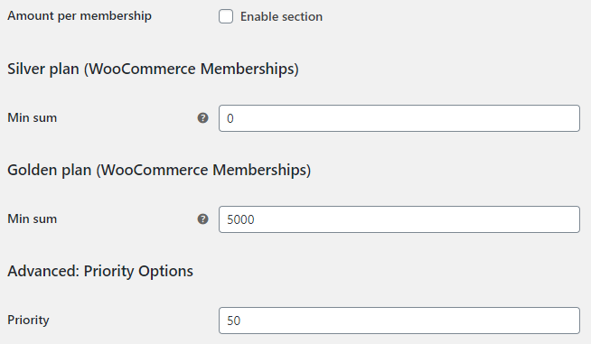 Order Minimum Maximum Amount for WooCommerce - Memberships Options