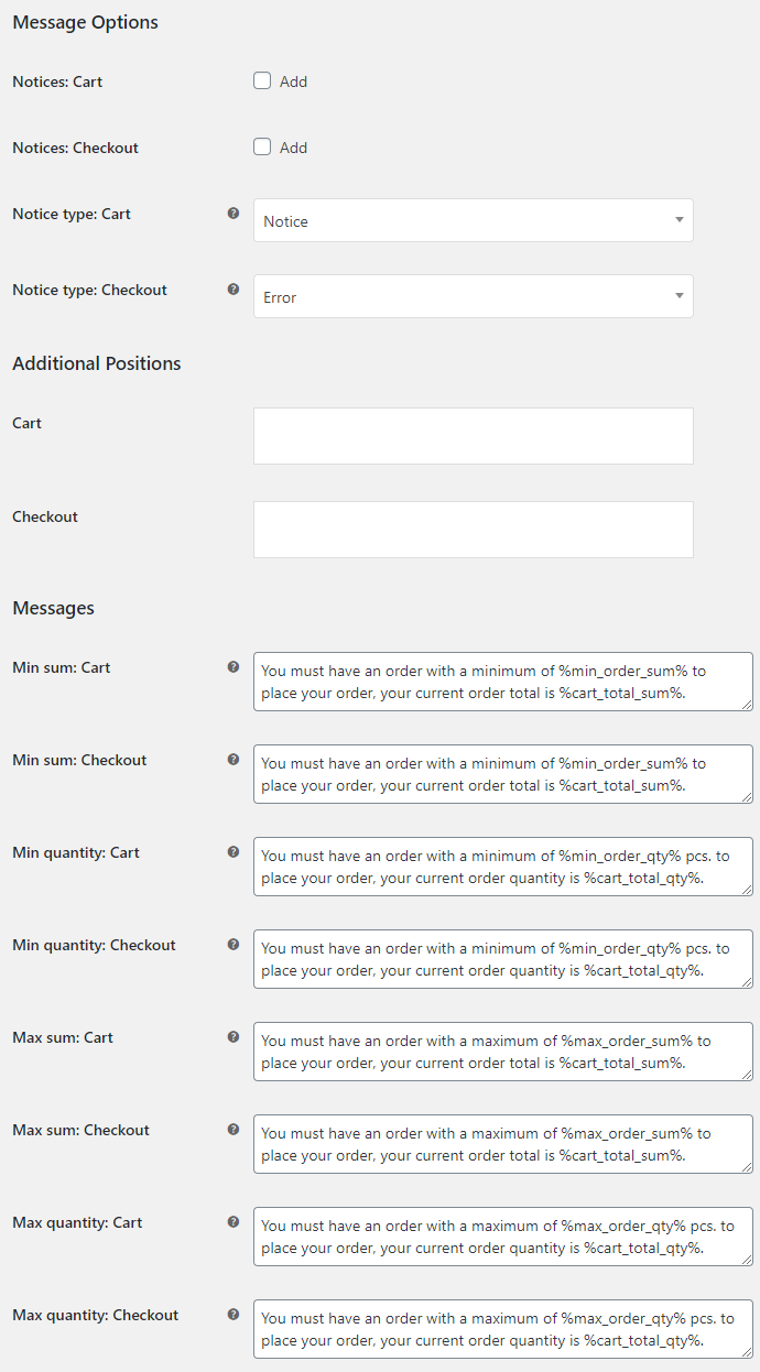 Order Minimum Maximum Amount for WooCommerce - Message Options
