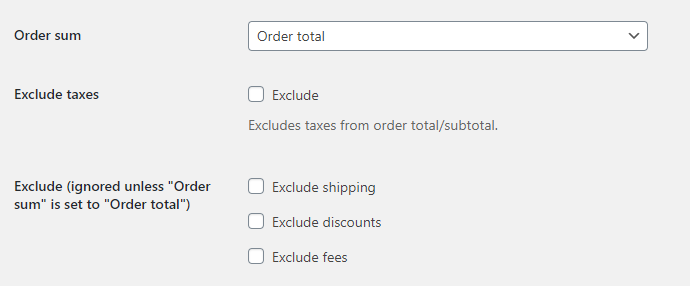 Order Minimum Maximum Amount for WooCommerce - Order Sum Options
