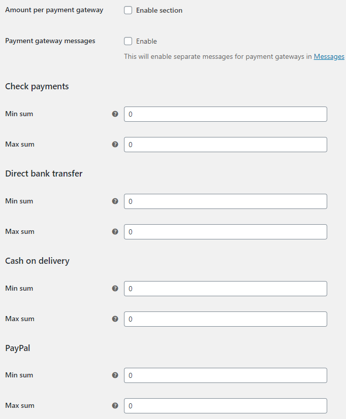 Order Minimum Maximum Amount for WooCommerce - Payment Gateways Options