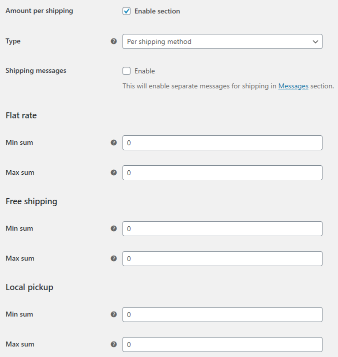 Order Minimum Maximum Amount for WooCommerce - Shipping Options