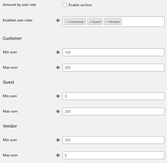 Order Minimum Maximum Amount for WooCommerce - User Roles Options