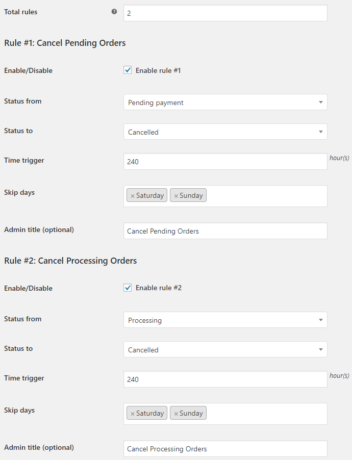 Order Status Rules for WooCommerce - General Settings
