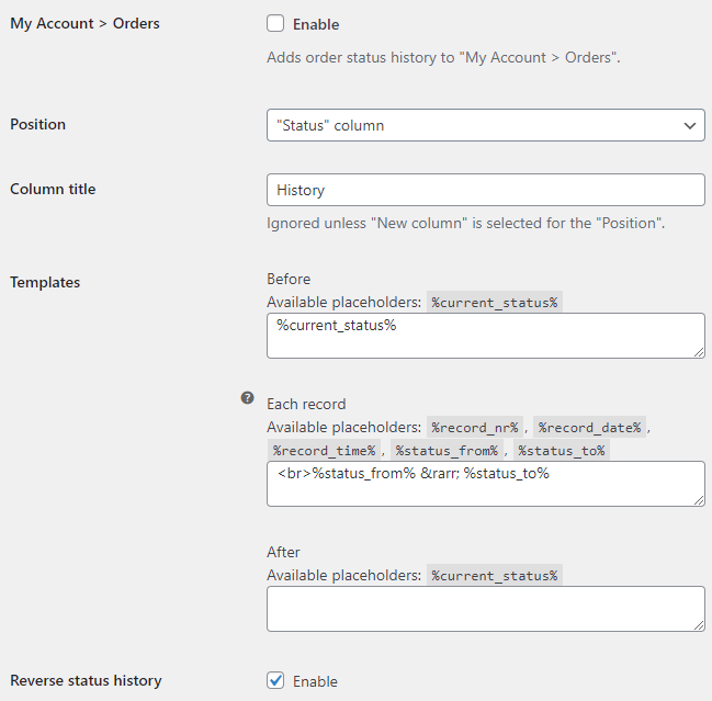 Order Status Rules for WooCommerce - My Account Options