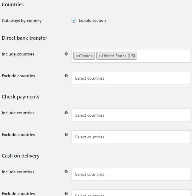 Payment Gateways by Customer Location for WooCommerce - Countries Options