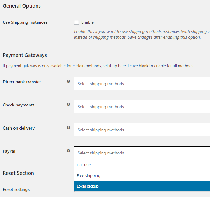 Payment Gateways by Shipping for WooCommerce - Admin Settings