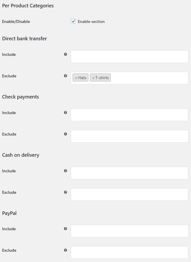 Payment Gateways per Products for WooCommerce - Per Product Categories Options