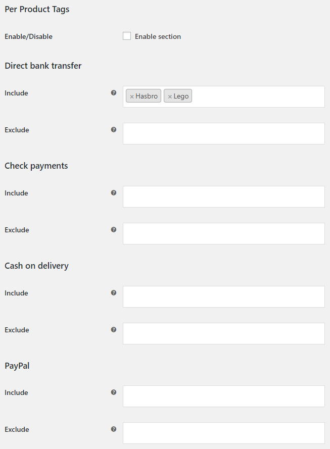Payment Gateways per Products for WooCommerce - Per Product Tags Options