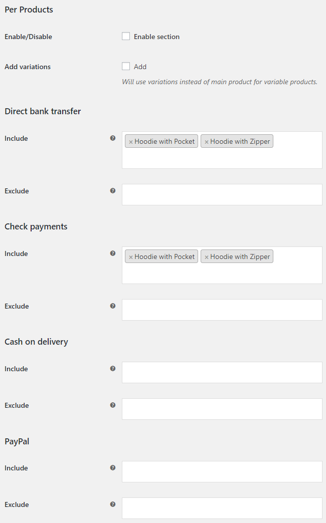 Payment Gateways per Products for WooCommerce - Per Products Options