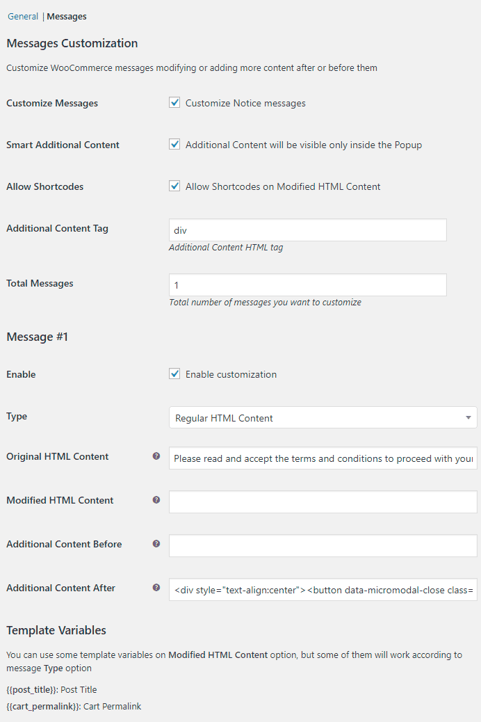 Popup Notices for WooCommerce - admin-settings-customize-messages