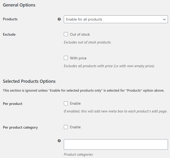 Price Offerings for WooCommerce - General Options