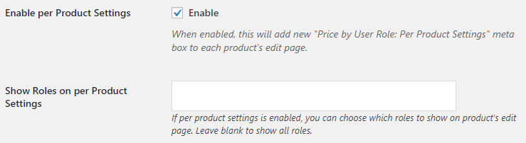 Price by User Role for WooCommerce - Admin Settings - Per Product Options