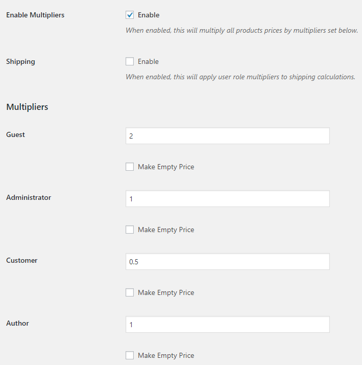 Price by User Role for WooCommerce - Admin Settings - Roles and Multipliers Options