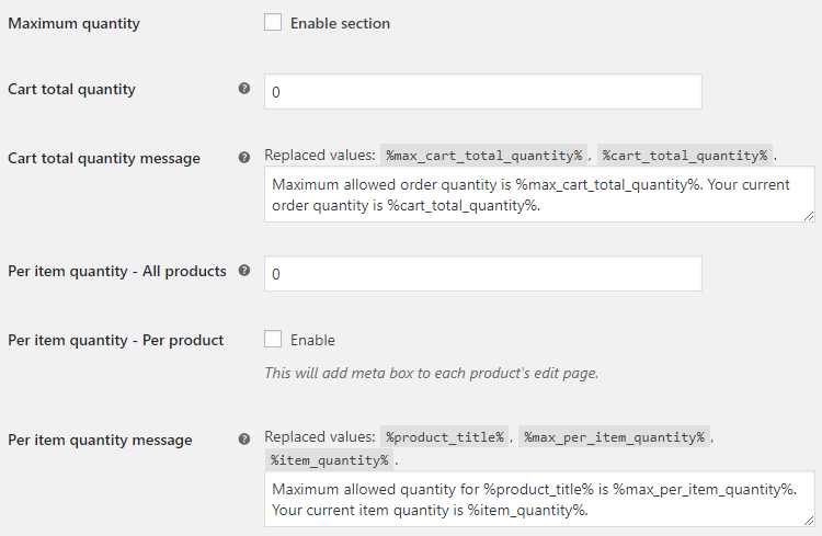Product Quantity for WooCommerce - Maximum Quantity Options - v1.2.1