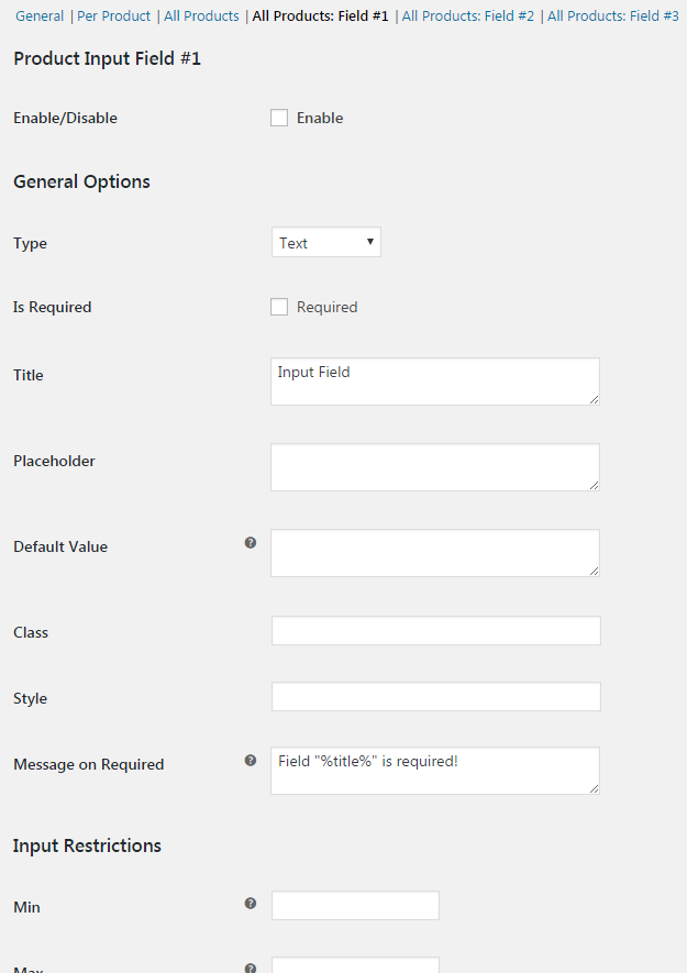 Product Input Fields for WooCommerce - Global Field Options