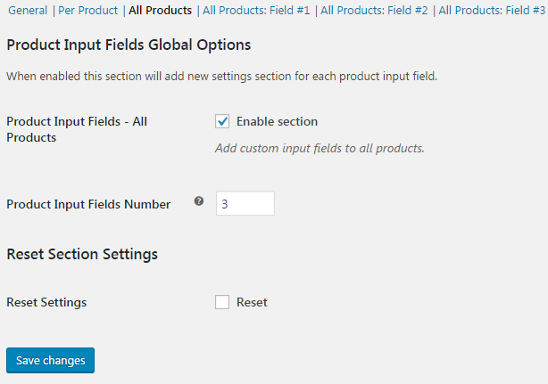 Product Input Fields for WooCommerce - Global Fields - Total Number