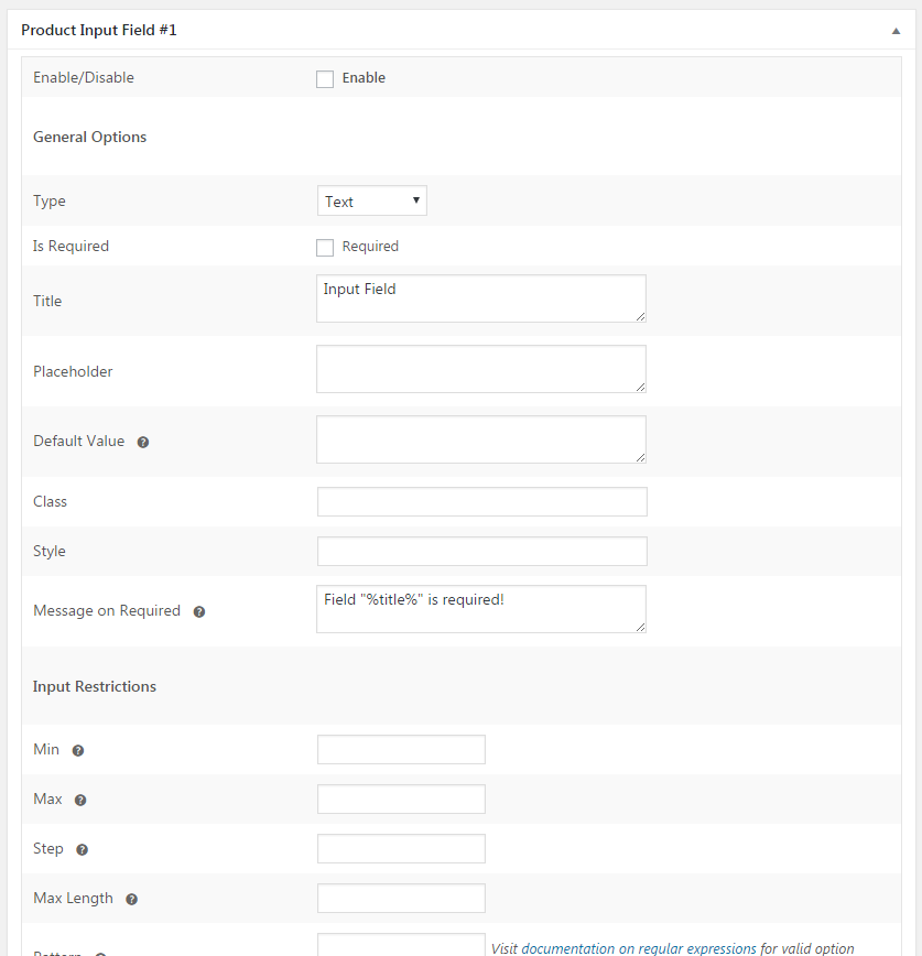 Product Input Fields for WooCommerce - Local Field Options