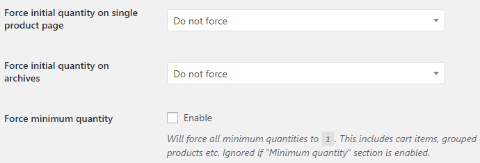 Product Quantity for WooCommerce - Force Quantity Options