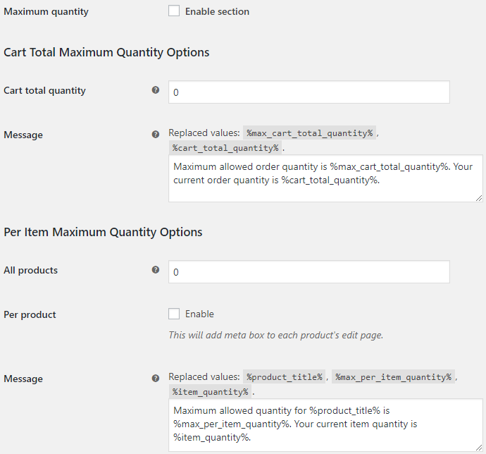 Product Quantity for WooCommerce - Maximum Quantity Options