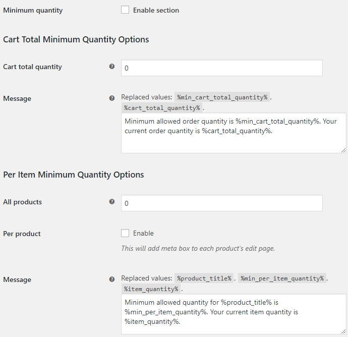 Product Quantity for WooCommerce - Minimum Quantity Options
